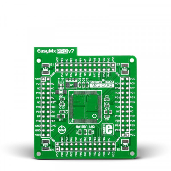 Standard empty MCU card for 100-pin TQFP Stellaris 3000 series