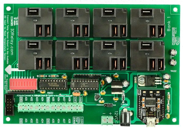 Industrial High-Power Relay Controller 8-Channel + 8-Channel ADC